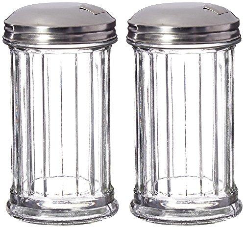 Great Credentials Set of 2 Sugar Shaker Retro Dispenser Glass Jar Pour-Flap Lid Stainless Steel Lid 12 OZ Each Pour-Flap Lid
