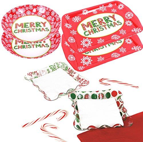 6-Piece Christmas Party Serving Set 2x Christmas Trays 2x Bowls Napkin Holders w Napkins
