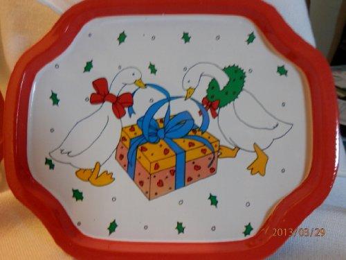 Christmas Metal Tray Christmas Geese Tray