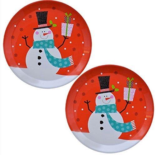 Christmas Trays Set of 2 Large Round Snowman Decorative Design Plastic 135 Inch