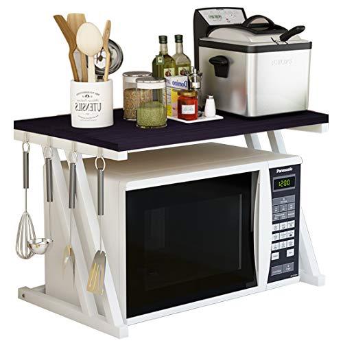 Haotrend Microwave Shelf Microwave Stand Kitchen Counter Shelf Organizer Spicy Shelf Rack Toaster Organizer Microwave Oven Rack 2 Tiers with Hooks Black Board  White Metal Frame