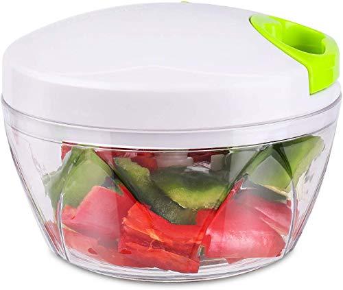 2019 Upgrade Version BOOGO Manual Food ChopperCompact and Powerful Hand Held Vegetable ChopperMincerBlender to Chop FruitVegetableNutHerbOnionGarlic for SalsaSaladPestoColeslawPuree