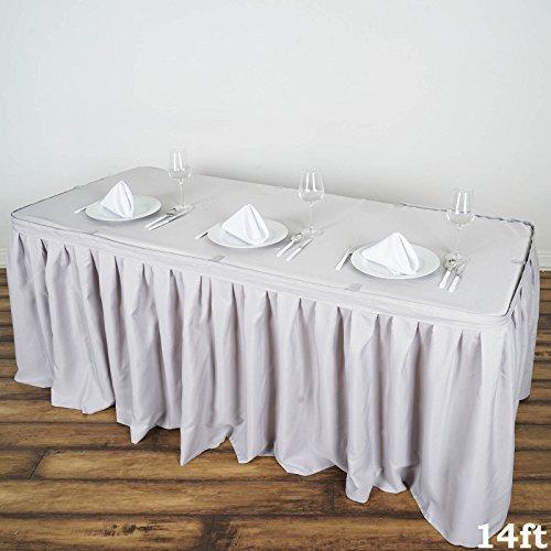 BalsaCircle 14 feet x 29 Polyester Banquet Table Skirt - Silver