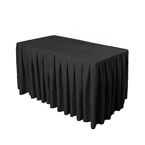 Doolova 6FT Black Wholesale Polyester Table Skirt For Wedding Banquet Restaurant