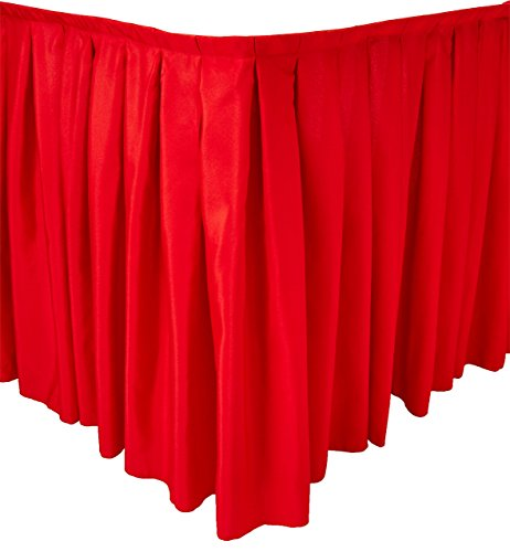 LinenTablecloth 21 ft Accordion Pleat Polyester Table Skirt Red