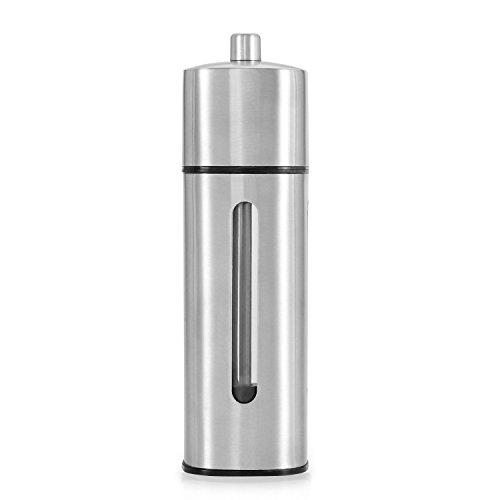 Salt Pepper Grinders Set Of 2 By Nucookery – Stainless Steel Manually Spice Mills – Adjustable Grinding Mechanism Shakers - Ergonomic Elegant Tall Design - Ideal For Both Home Restaurant Use