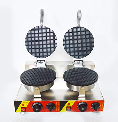 INTBUYING Commercial Double Station Ice Cream Waffle Cone Maker Machine Egg Roll Toast Sandwich Machine Iron Cake Nonstick Baker Non-Stick Coating