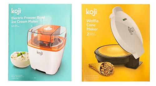 Koji Dessert Set with Ice Cream Maker and Waffle Cone Maker