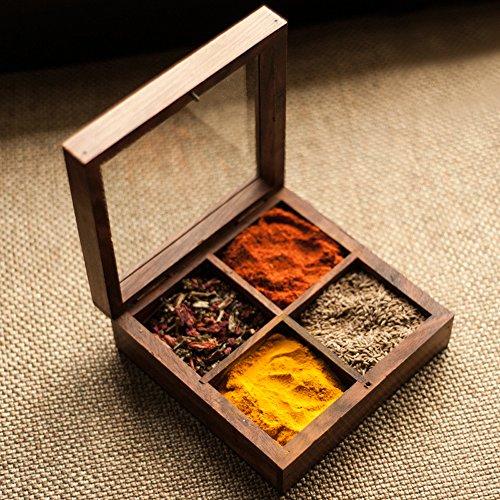 ExclusiveLane Multi-Utility Cum Spice Box In Sheesham Wood -Spice Rack Container Organizer Spice Jars Storage Kitchen Box