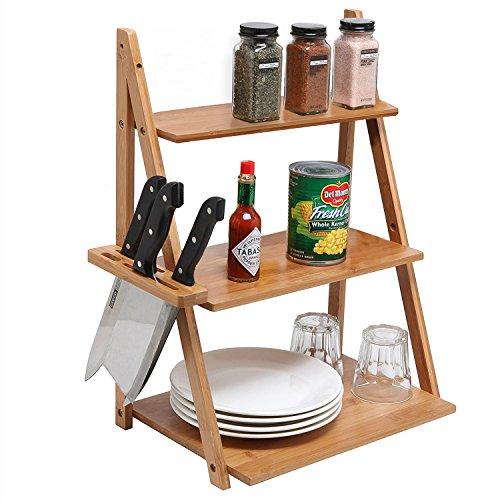 MyGift Wood Spice Rack 3 Tier Kitchen Organizer Shelf with Knife Holder Beige