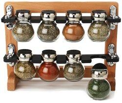 Olde Thompson 8-jar Filled Orbit Wood Spice Rack
