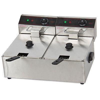 5000w 12 Liter Electric Countertop Deep Fryer Dual Tank 6 Commercial Restaurant