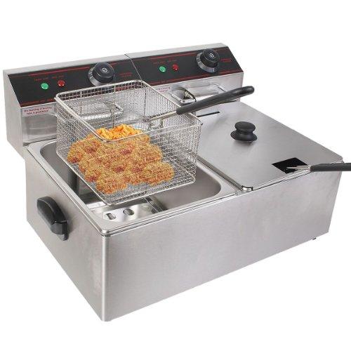 Goplus Electric Countertop Deep Fryer Dual Tank Commercial Restaurant Stainless Steel