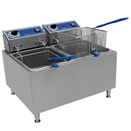 Globe PF32E 32 lb Dual Tank Electric Countertop Fryer - Restaurant Equipment