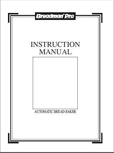 Breadman Bread Machine Maker Instruction Manual Model TR800C Reprint Plastic Comb