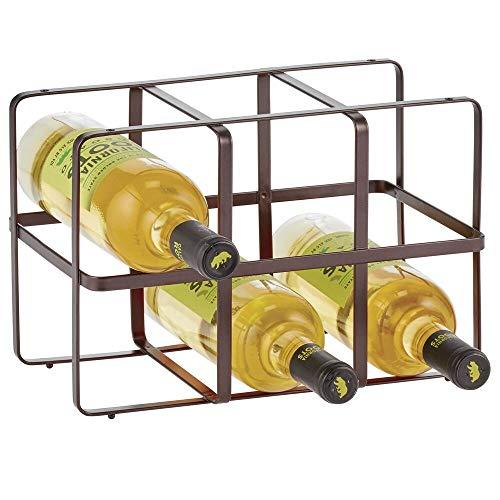 mDesign Metal Free-Standing Wine Rack Storage Organizer for Kitchen Countertops Pantry Fridge - Stores Wine Beer PopSoda Water Bottles - 2 Levels Holds 6 Bottles - Bronze