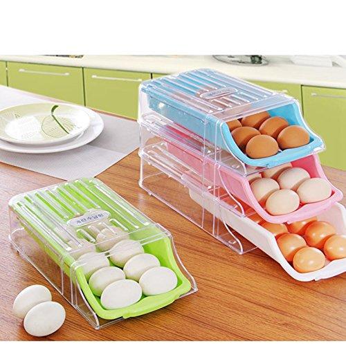 Kitchen Home Refrigerator Storage Plastic Drawer Type Egg Holder Box Container Dispenser Case Green
