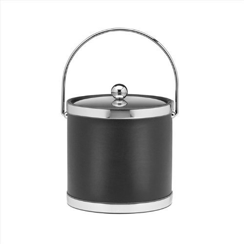 Kraftware Sophisticates Black with Polished Chrome 3-Quart Ice Bucket with Bale Handle Bands and Metal Cover