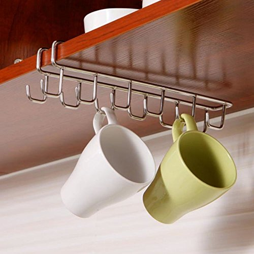 Stainless Steel 12 Hook Under Shelf Mugs Cups Wine Glasses Storage Drying Holder Rack Rustproof Cabinet Hanging Organizer Rack for Ties And Belts