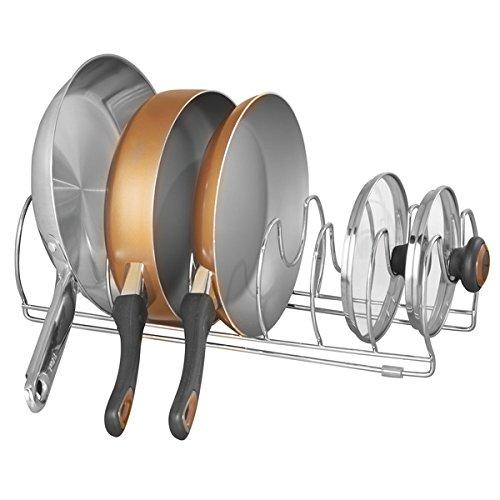 mDesign Kitchen Cabinet Storage Organizer for Skillets Pans - 17 Chrome