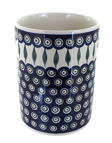 Polish Pottery Peacock Utensil Jar