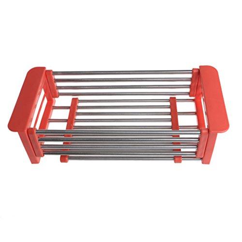 Amrka Dish Drying Rack Drainer Kitchen Holder Tray Organizer Storage Stainless Steel Orange