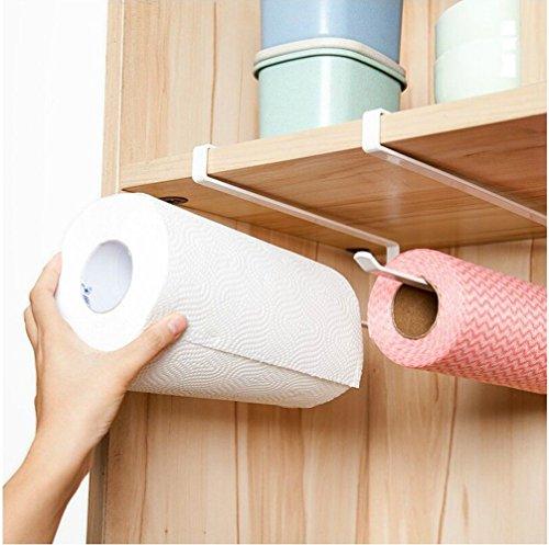 Moving and Free Perforated Kitchen PaPer Roll Holder Plastic Wrap Trivets Kitchen Towel Rack Cabinet Napkins Storage Rack Holder