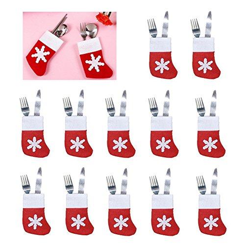 Christmas Silverware Holder 12 Pack Snowflake Socks Tableware Flatware Holders Table Decorations