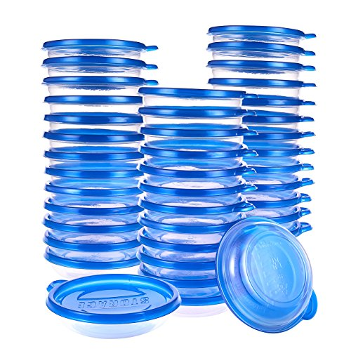 40-Pack Plastic Food Containers with Lids - Round Food Storage Containers Deli Take Out Restaurant Containers Microwave Freezer Dishwasher Safe 95 Ounce