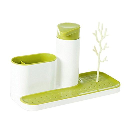 Egoelife Kitchen Bathroom Sink Caddy Organizer Holder Drying Rack Shelves for Sponges Scrubbers Soap Green