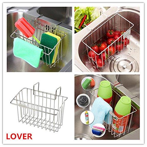 LOVER Kitchen Sink Organizer Kitchen Sink Caddy Stainless Steel Sink Sponge Holder Brush Soap Dishwashing Liquid Drainer Rack For Kitchen Sink Countertop Storage