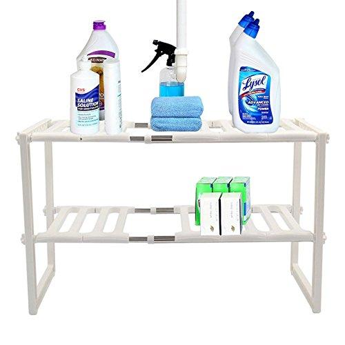 Mr Kitchen Rack  White 2-Tier Space Saving Expendable Under Sink Shelf Adjustable Cabinet Storage 12x20-28x15 Inches Size  Sturdy Stainless Steel PP Materials Kitchen Bathroom Organizer