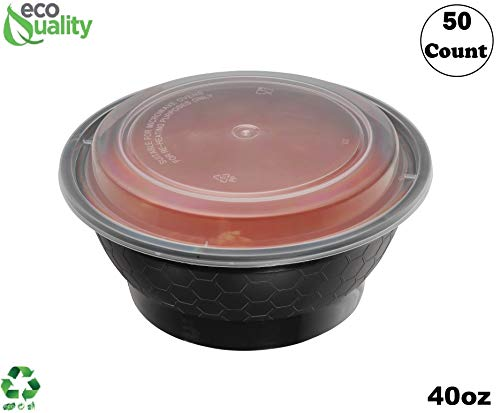 EcoQuality Meal Prep Containers 50 Pack Round Bowls with Lids Food Storage Bento Box Microwavable Premium Bowl Stir Fry  Lunch Boxes  BPA Free  FreezerDishwasher Safe  Disposable 40 oz