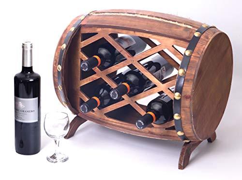 Vintiquewise QI003341 Rustic Wooden Barrel Shaped Rack 5 Bottle Decorative Wine Holder