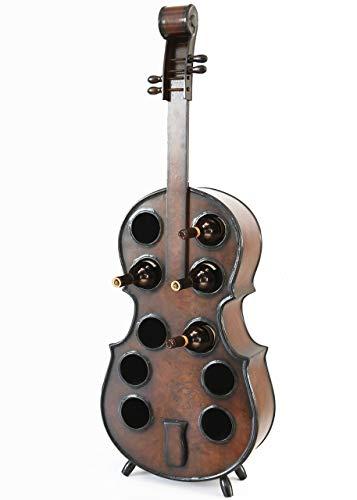 Vintiquewise QI003342L Wooden Violin Shaped Rack 10 Bottle Decorative Wine Holder