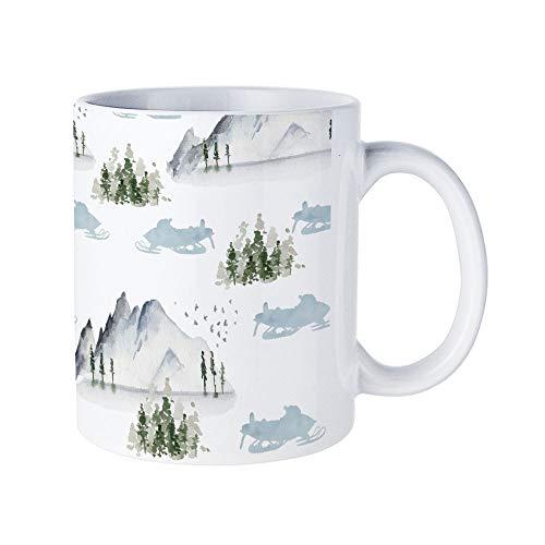 DKISEE Abstract Snowmobile Fun Coffee Mug Novelty 11oz White Ceramic Mug Birthday Christmas Anniversary Gag Gifts Idea
