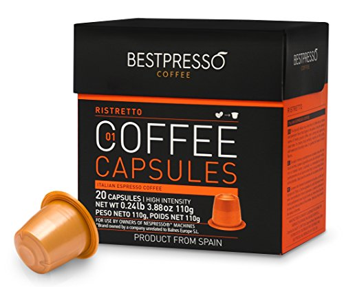 Nespresso Compatible Gourmet Coffee Capsules-120 Pod Ristretto BlendHigh Intensity - for Original Line Nespresso Machine -Bestpresso Brand -Certified Genuine Espresso-60 Days Satisfaction Guarantee