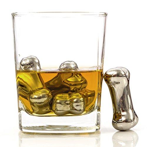 Chill-O Stainless Steel Whiskey Chiller Bones Set of 4 Whiskey Chillers - Wine Chillers - Beer Chillers - Vodka Chillers - Champagne Chillers - Spirits Chillers - Whiskey Bones