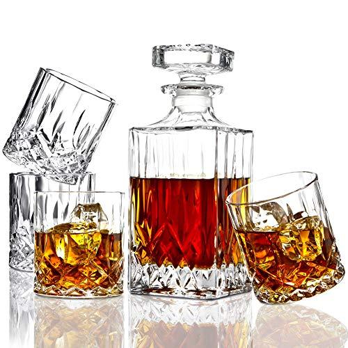 ELIDOMC 5PC Italian Crafted Crystal Whiskey Decanter Whiskey Glasses Set Crystal Decanter Set With 4 Whiskey Glasses 100 Lead Free Whiskey Glass Set