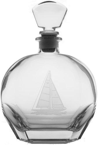 Sailboat Glass Whiskey Decanter 23oz Nautical Tropical Home Decor