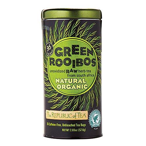 The Republic Of Tea 100 Organic Natural Green Rooibos Tea Bags 36 Tea Bag Tin