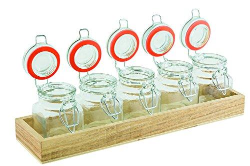 Tablecraft HFLGLASS5 6 Piece Tasting Flight Jars with Crate Set of 5 24 oz Clear