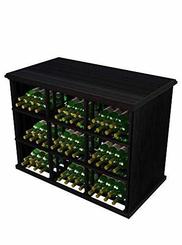 Vintner Series Wine Rack Tasting Table for 180 Bottles -Mahogany with Midnight Black Stain