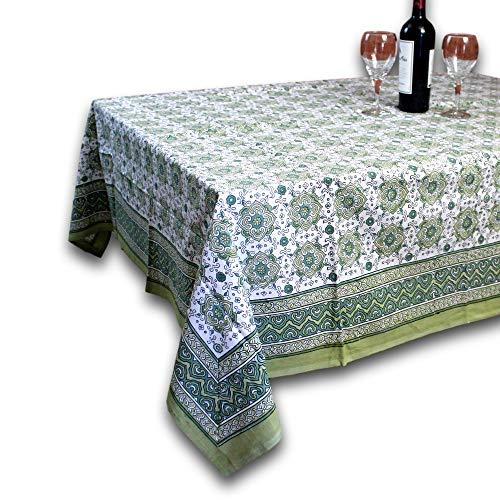 Homestead Geometric Floral Tablecloth Rectangular Cotton Table Linen Beach Sheet Beach Throw Green 60 x 90 inches