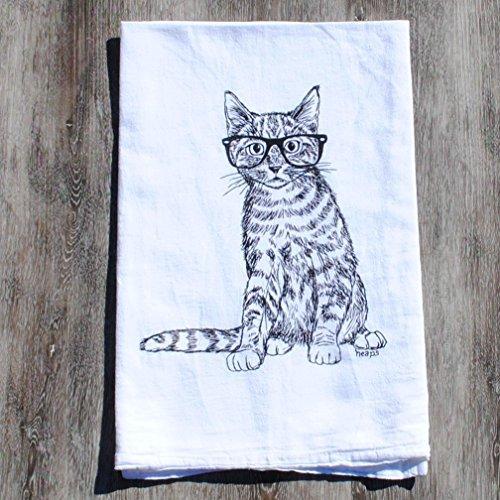 Kitchen Tea Towel Cotton Table Linens Cat with Glasses