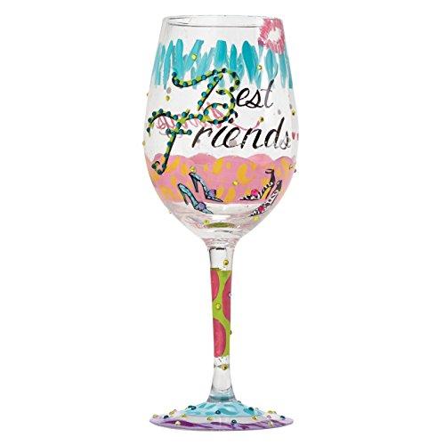 Lolita Best Friends Always Artisan Painted Wine Glass Gift