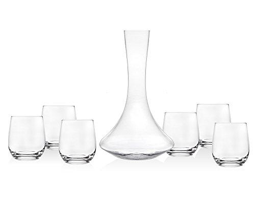 Godinger Echo Seven Piece European Made Wine Set - Includes 7 Wine Glasses and Decanter
