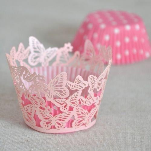 50 PCs 325 Pink Butterfly Wedding Cupcake Wrapper Wrap Case Wedding Birthday Decoration