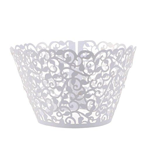 Ellami  100 Pcs Flower Vine Filigree Cutout Lace Cupcake Wrapper Wraps Liner Wedding Party Cake Decoration White
