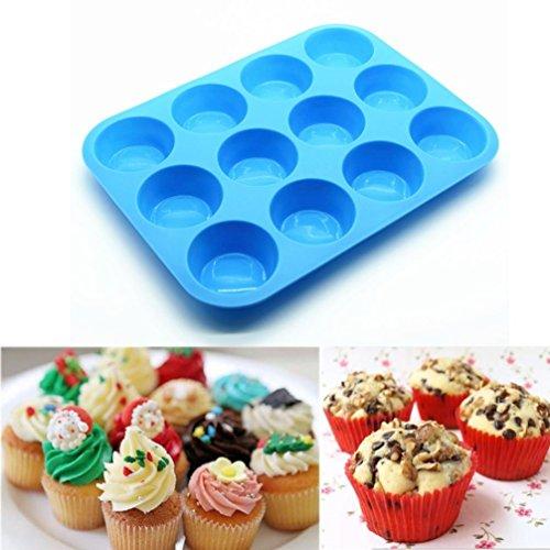 Cake Moulds,Han Shi Cake Mold 12 Cup Silicone Muffin Cupcake Baking Pan Non Stick Dishwasher Safe Cake Shape Fondant Bakewar Sugarcraft